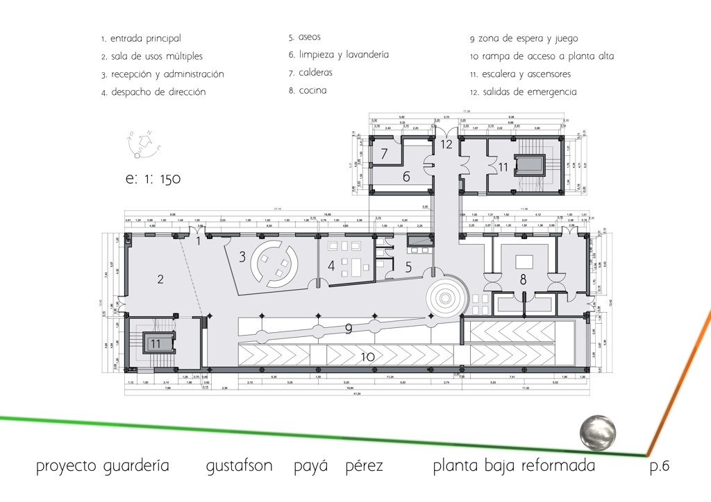Floor plan ground floor (main hall, offices, reception, kitchen)