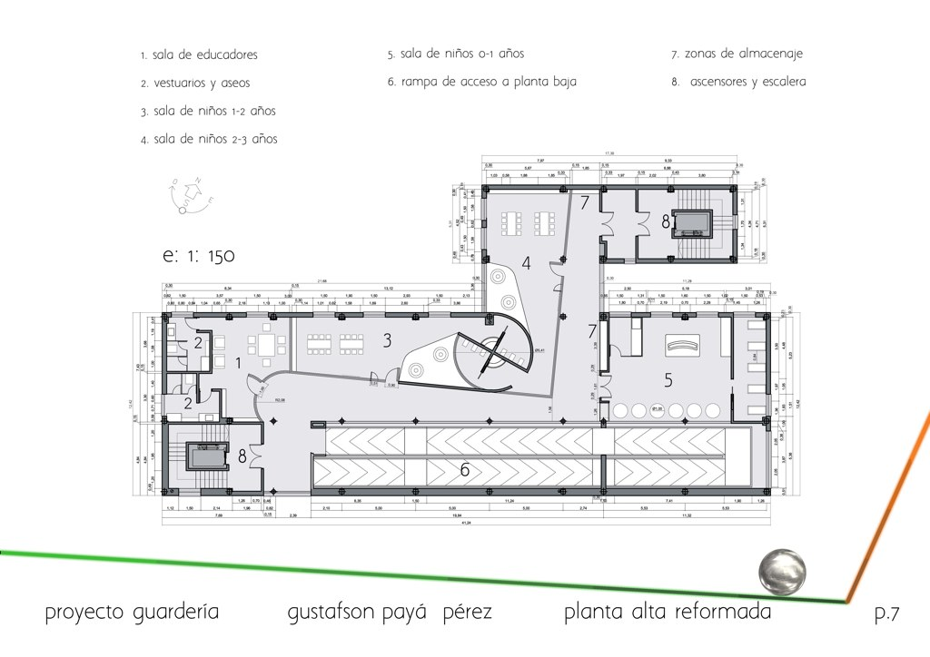 Floor plan first floor (class rooms, rec rooms, sanitary facilities etc)