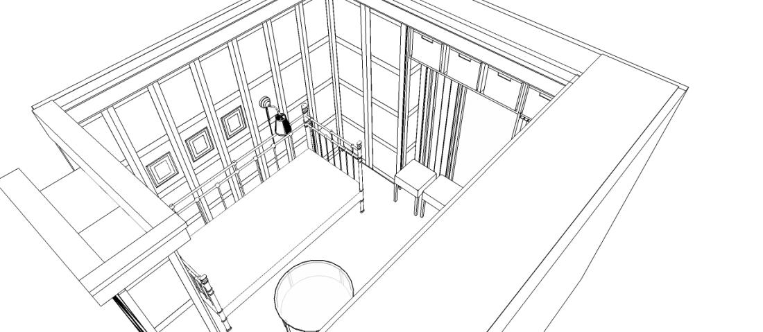 """Sketchup image of the """"Hidden"""" bedroom"""