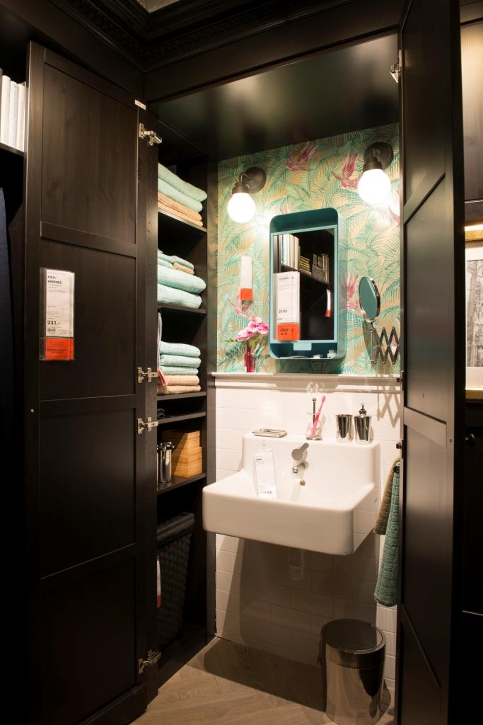Sink, and bathroom storage.